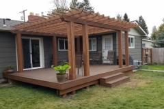 Wood Pergola and Deck Constructed by Skyline Deck - Skylinedecks.com