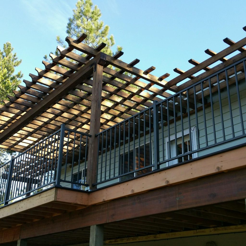 Custom Wood Pergola - Custom Deck & Railing - Skyline Deck - Hayden Idaho - www.skylinedecks.com